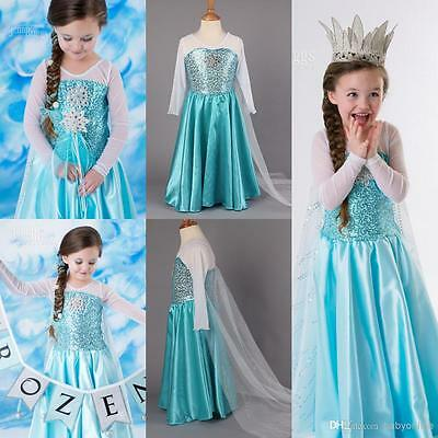 NEW SALE!!! Girls Queen Elsa Frozen Dress Costume Fashion Seller Ships Fast!