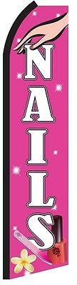 NAILS Pink Manicure Pedicure Salon Swooper Flag Tall Feather Flutter Banner Sign