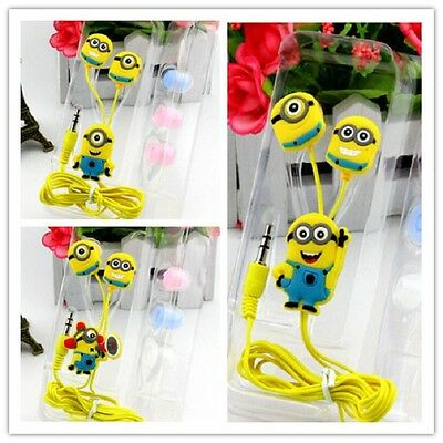 Hot 3.5mm Despicable Me The Minion Beedo Earphone Yellow Earbud Headset In-ear