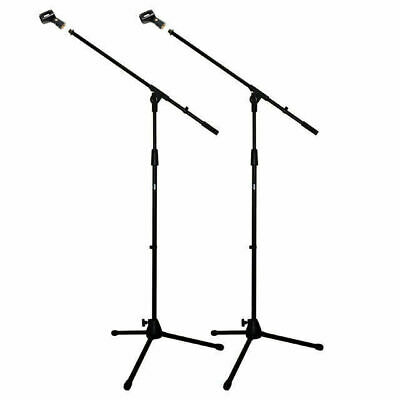 2 X Microphone Boom Stands Professional Mic Stand Unbreakable Base Free Mic Clip