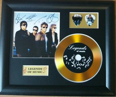 Bon Jovi Preprinted Autograph, Gold Disc & Plectrum Presentation