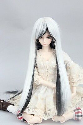 """BJD Doll Hair Wig 8-9"""" 1/3 SD DZ DOD LUTS White and Black Straight Long"""