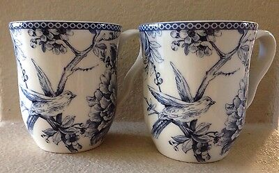 "222 FIFTH ""ADELAIDE BLUE"" FRENCH TOILE BIRD TEA CUPS MUGS SET OF 4"
