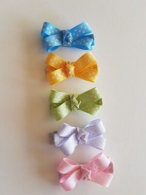 SET OF 5 BOW NONSLIP HAIRCLIPS for BABY,TODDLER, GIRL
