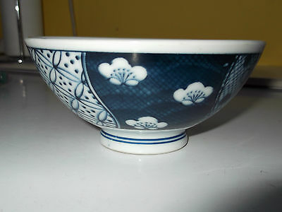 SMALL BOWL WITH A BLUE & WHITE PATTERN  IN PANELS  ORIENTAL BACKSTAMP