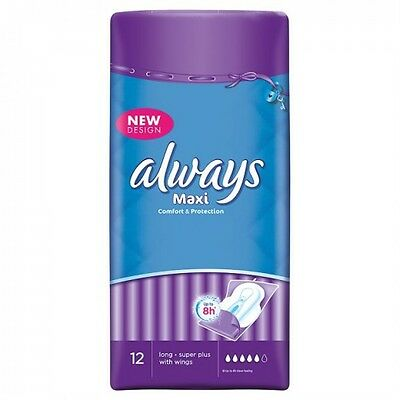 Always Maxi Long Super Plus 12 Sanitary Pads/Towels with Wings