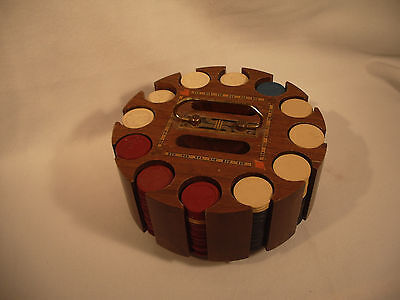 VTG Clay Poker Chips & Caddy Horse & Jockey Wooden Carousel 294 Chips Lid Handle