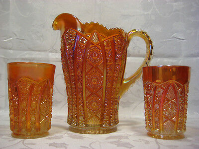 IMPERIAL CARNIVAL GLASS OCTAGON PITCHER & 2 TUMBLERS plus * ANTIQUE *