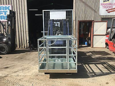 forklift safety cage, work platform new model with tool tray just $660 inc gst