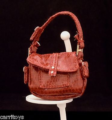 BARBIE BROWN FAUX SNAKESKIN PURSE BAG MODEL OF THE MOMENT MARISA MUSE ACCESSORY
