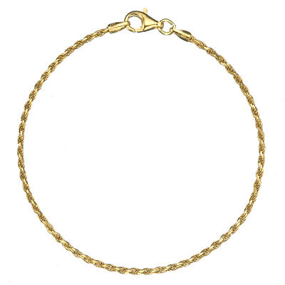 """18K Gold over 925 Silver 1.7mm Thin Italian Twisted Rope Chain Bracelet 7"""" - 8"""""""