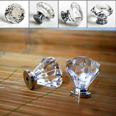 10Pcs 20mm Crystal Glass Diamond Shape Cabinet Knob Drawer Pull Handle Kitchen