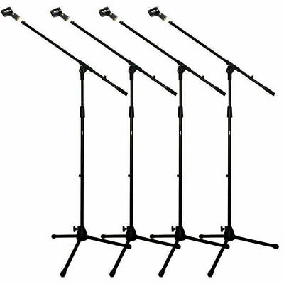 4 X Microphone Boom Stands Professional Mic Stand Unbreakable Base Free Mic Clip
