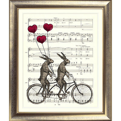 ART PRINT VINTAGE MUSIC SHEET Page HARE BIKE Heart BALLOON Rabbit Cycle Retro