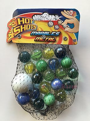 Marbles in a Net Bag Of Glass Metallic Marbles Assorted Colours Fun Kids