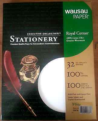 Royal 100% Cotton White Resume Stationery Paper - 8.5 x 11-32# 100 Sheets/Box
