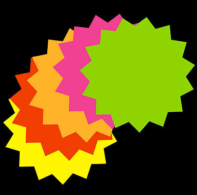 """4"""" x  4""""  50 count Fluorescent Star Burst Price Tag Neon Retail Sale Tags Cards"""