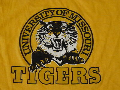Vintage 80s 1980s UNIVERSITY MISSOURI TIGERS Kids T-Shirt sz 14-16 Deadstock New
