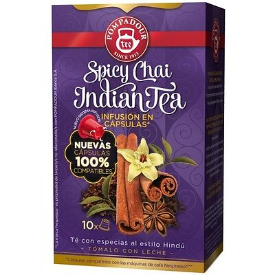 Nespresso Compatible, not Coffee Capsules - SPICY CHAI INDIAN TEA (4 x 10 caps)