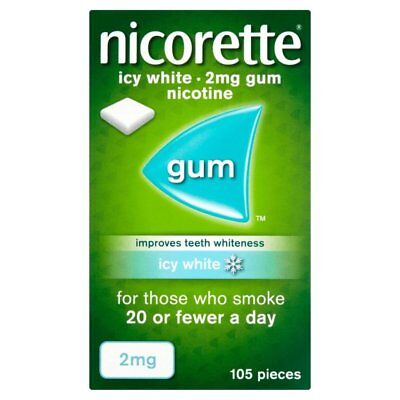 Nicorette 2mg Chewing Gum Icy White Gum 105 Pieces
