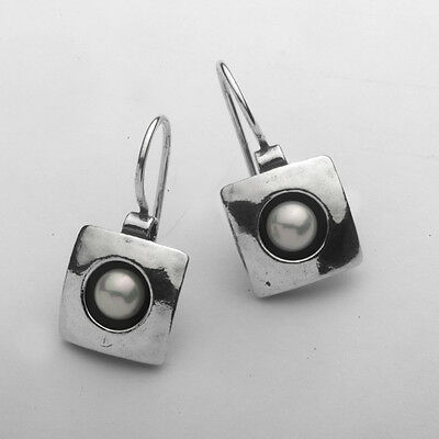 E00019SP SHABLOOL ISRAEL Didae Handcrafted FW Pearl Sterling Silver 925 Earrings