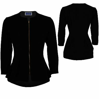 Women's High Low Waterfall 3/4 Sleeve Gold Zip Ladies Textured Pleated Jacket