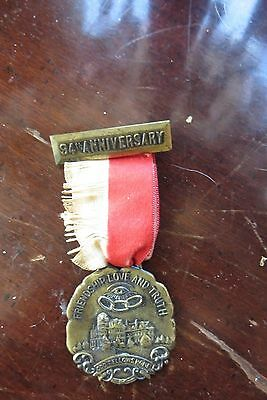 1913 Oddfellows medal,ribbon, 94th Anniversary, Fellowship, Worchester, old