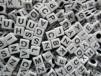 200pcs White Square Acrylic Initial Alphabet Letter Pick Loose Beads Charms