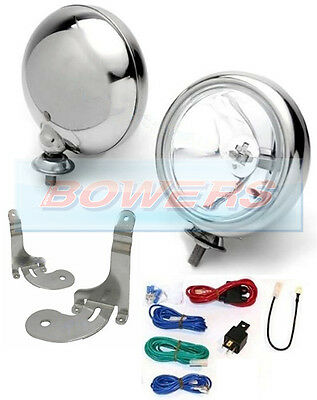 "2x 5"" BMW MINI CHROME SPOT/DRIVING LAMPS/LIGHTS KIT WITH BRACKETS & WIRING WIPAC"