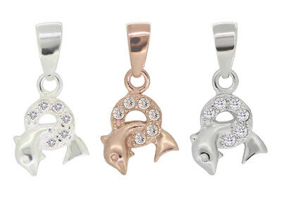 Sterling Silver Dolphin Pinch Bail 17mm Plated Findings with CZ for Crystals