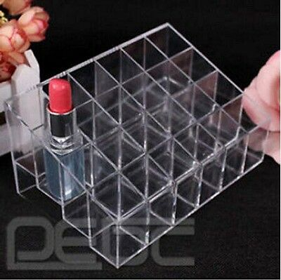 24 Trapezoid Clear Lipstick Makeup Cosmetic Holder Case Stand Organizer Display