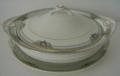 JOHNSON BROS JB126 Round Covered Vegetable Bowl Pink Rose Yellow Green Blue Trim