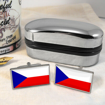 Czech Republic Flag Cufflinks & Box