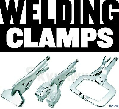 New Locking Grip Welding Clamp Vise C-Clamp Sheet Metal Clamp Plier 3 Pc Set