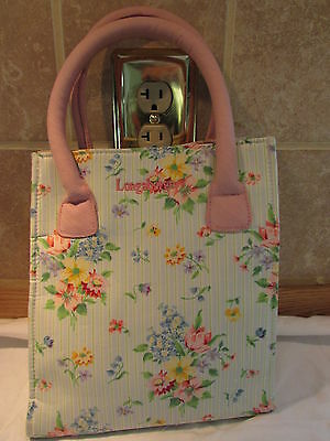 Reusable- Cloth   Pretty Flowered Tote Bag- Very Handy!! by Longaberger