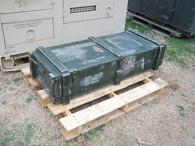 Military Surplus 81 Mm Mortar Case Ammo Box Crate Wood Metal  Carry Handles