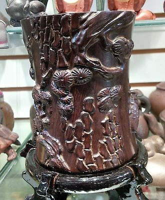CHINESE CARVED ZITAN WOOD BRUSH POT WITH PINE & CICADAS