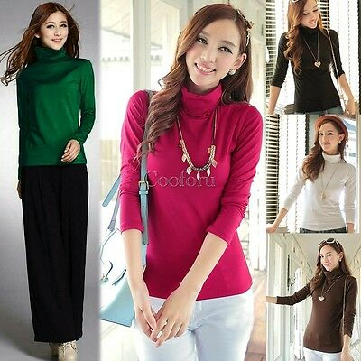 Women High Turtle Neck Long Sleeve TEE Solid T-shirts Blouse Top Pullover CO99