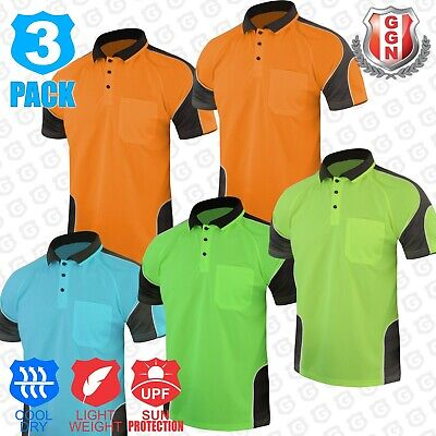 3x HI VIS POLO SHIRT PANEL WITH PIPING,SAFETY WORK WEAR COOL DRY,SHORT SLEEVE