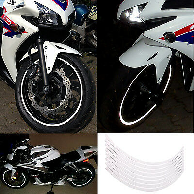 """Rim Stickers WHITE Silver Reflective Tape 6mm 17"""" Motorcycle Motorbike 18 Strips"""