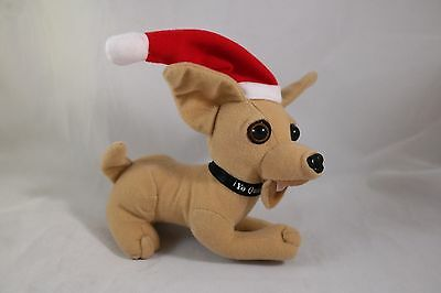 """Taco Bell Chihuahua Dog in Santa Hat by Applause 6"""" long x 5"""" tall NO Sound Box"""