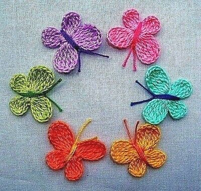 Crochet  Multicolor Butterfly Appliques  Supplies Crafts Women Mixed Lot Baby