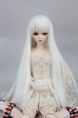 """BJD Doll Hair Wig 6-7""""1/6 SD DZ DOD LUTS Pure White Long Straight"""