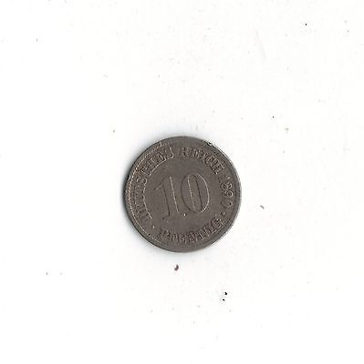 *WORLD FOREIGN COINS* GERMANY *10 PFENNIG 1890A*Lot O23*124 years old* Pre-Euro*