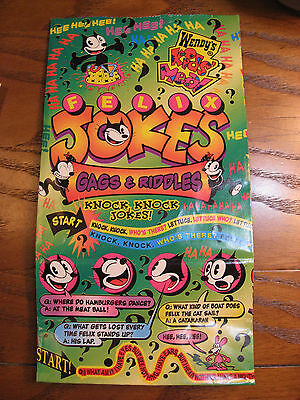 Wendy's Kids Meal Empty Bag from the Felix the Cat Cartoon Fun - Riddles -1996