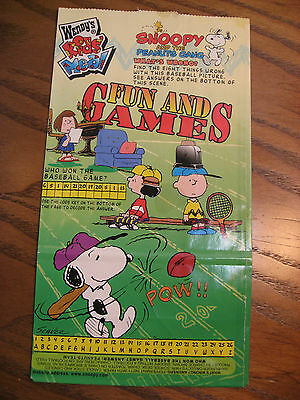 Wendy's Kids Meal Empty Bag from Snoopy and The Peanuts Gang - Games - 1998