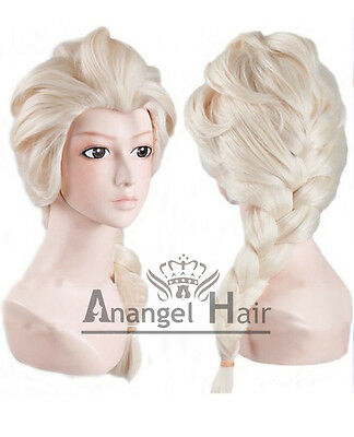 Free Cap+Princess Snow Queen Elsa Wig for Kids Cosplay Costume Synthetic Blonde