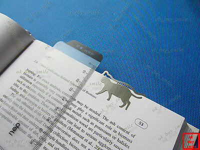 Set of 2pcs Brand New Stainless Steel Metal Walk Cat Bookmark Book Marks