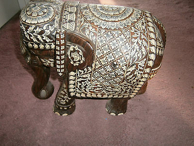 Large Heavy 19Thc Anglo-Indian Inlaid Elephant Carved Mughal Rosewood Brilliant