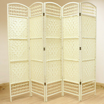 Cream 5 Panel Wicker Room Divider Hand Made Privacy Screen/Separator/Partition